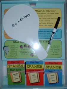 Paddle, pen and Verde, Rojo and Azul Flash Cards